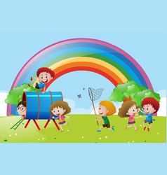 many children playing and dancing in the park vector image