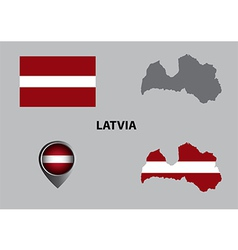 Map of latvia and symbol vector