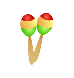 modern musical instrument maracas red yellow vector image