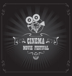 Movie festival poster with old fashioned camera vector