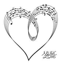 musical heart shape vector image