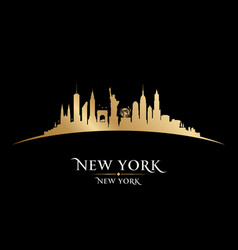 new york city silhouette black background vector image