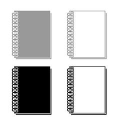 notebook with spring icon set grey black color vector image