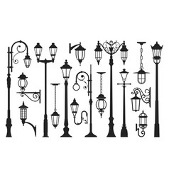 old street lamp black silhouette city vintage vector image