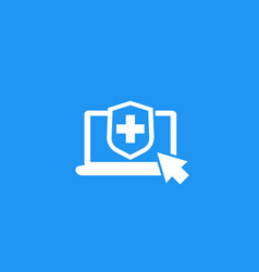 Online insurance icon vector