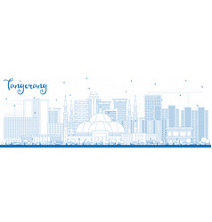 outline tangerang indonesia city skyline with vector image