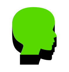 People head sign green 3d icon with black vector