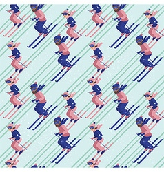 People skiing pattern vector