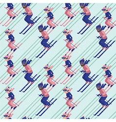 People skiing pattern vector image