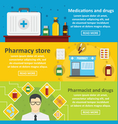 Pharmacy drugs banner horizontal set flat style vector