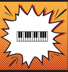 Piano keyboard sign comics style icon on vector