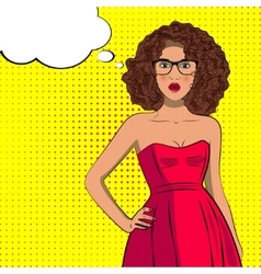 Pop art fashion curly woman with bubble sign vector image