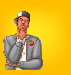 Pop art rap hip-hop male character vector