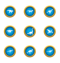 Prehistoric animal icons set flat style vector