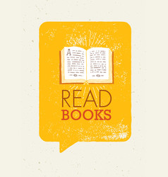 read books motivation banner concept with book vector image