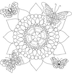 Round floral pattern with butterflies vector