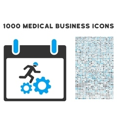 Running Worker Calendar Day Icon With 1000 Medical vector