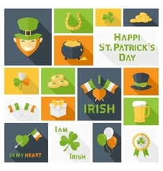 Saint Patricks Day icons set vector image