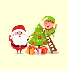 santa claus and elf decorating christmas tree vector image