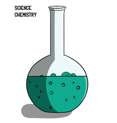 science chemistry a large flask with blue liquid vector image