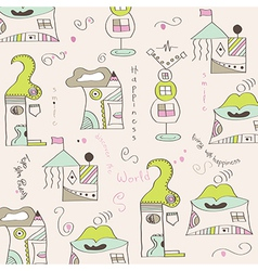 seamless pattern with surreal houses vector image