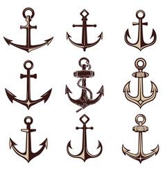 set anchors design element for logo label vector image
