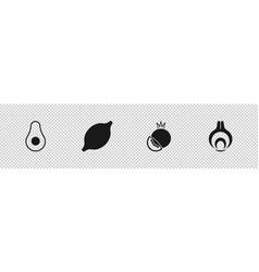 Set avocado fruit lemon tomato and onion icon vector