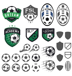 Set football soccer emblem design elements vector