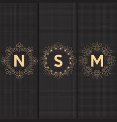 Set luxury logos template flourishes calligraphic vector