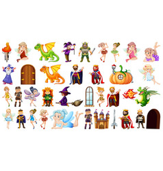 set medieval character vector image