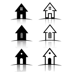 Set of 6 House icons vector image