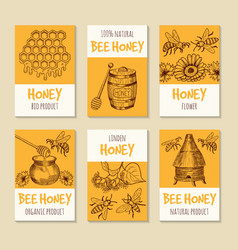 set of cards for honey products healthy vector image