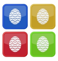 Set of four square icons - simple Easter egg vector