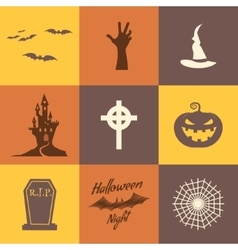 Set of halloween icons isolate on multicolor vector