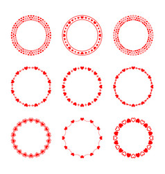 Set of simple modern round red frames in love vector