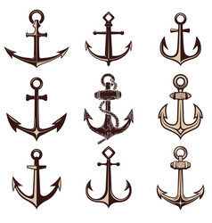 Set of the anchors design element for logo label vector