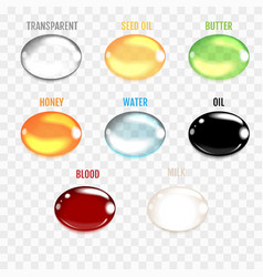 set of transparent drops in gray colors vector image
