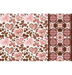 set of valentines floral background with hearts vector image