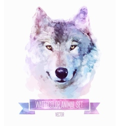 Set of watercolor Cute wolf vector