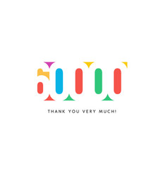 sixty thousand subscribers baner colorful logo vector image