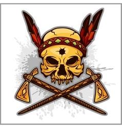 Skull an indian warrior vector