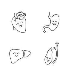 Smiling human internal organs linear icons set vector