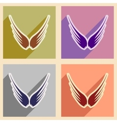 Stylish set wings of an eagle vector