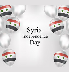 Syria independence day greeting card flying vector