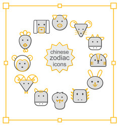 Thin line icons set chinese zodiac-yellow vector