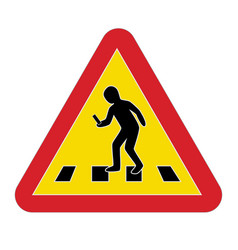 Traffic sign warning pedestrian smartphone vector