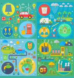 trendy flat design ecology set web icons vector image