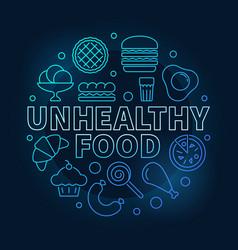unhealthy food round blue vector image