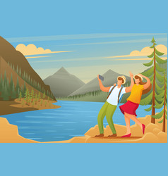 Vacationers are photographed in woods flat 2d vector