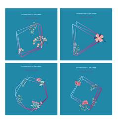 Watercolor wreath frame flowers invitation vector